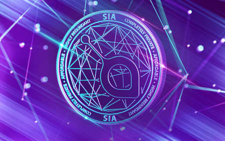 Neon glowing SIA coin in Ultra Violet colors with cryptocurrency blockchain nodes in blurry background. 3D rendering