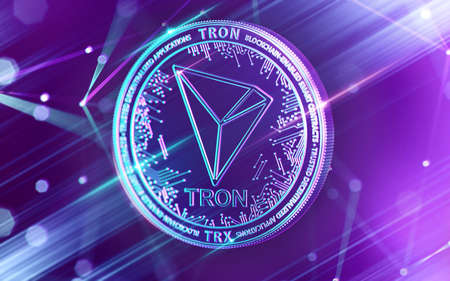 Neon glowing TRON (TRX) coin in Ultra Violet colors with cryptocurrency blockchain nodes in blurry background. 3D rendering Banco de Imagens
