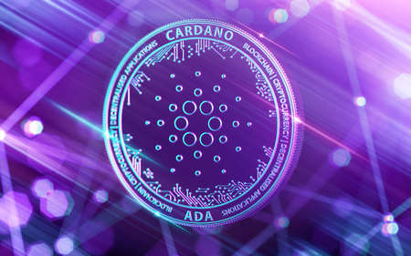 Neon glowing Cardano (ADA) in Ultra Violet colors with cryptocurrency blockchain nodes in blurry background. 3D rendering Stock Photo - 112516651