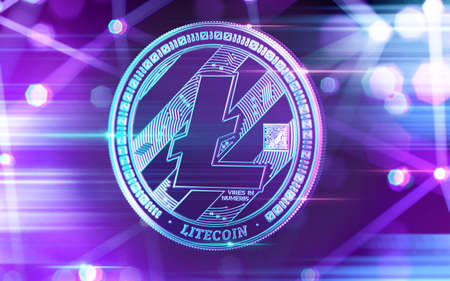Neon glowing Litecoin (LTC) coin in Ultra Violet colors with cryptocurrency blockchain nodes in blurry background. 3D rendering