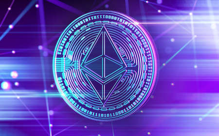 Neon glowing Ethereum (ETC) coin in Ultra Violet colors with cryptocurrency blockchain nodes in blurry background. 3D rendering 写真素材