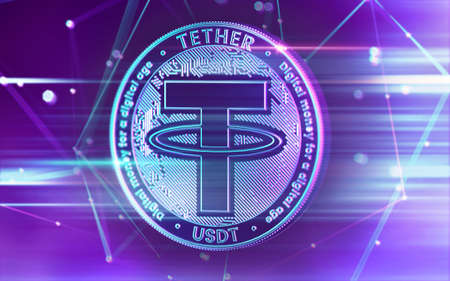 Neon glowing Tether (USDT) coin in Ultra Violet colors with cryptocurrency blockchain nodes in blurry background. 3D rendering