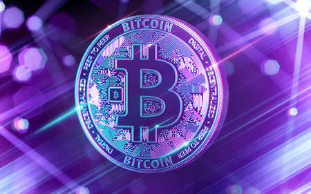 Neon glowing Bitcoin (BTC) in Ultra Violet colors with cryptocurrency blockchain nodes in blurry background. 3D rendering