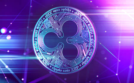 Neon glowing Ripple (XRP) coin in Ultra Violet colors with cryptocurrency blockchain nodes in blurry background. 3D rendering 写真素材