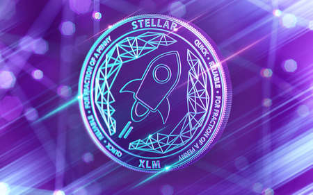 Moneda de lúmenes estelares (XLM) de neón que brilla intensamente en colores ultravioleta con nodos de blockchain de criptomonedas en el fondo borroso. Renderizado 3D