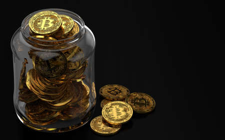 Bitcoin in glass jar as a bad way of keeping cryptocurrencies safe concept. Isolated on black background. 3D rendering