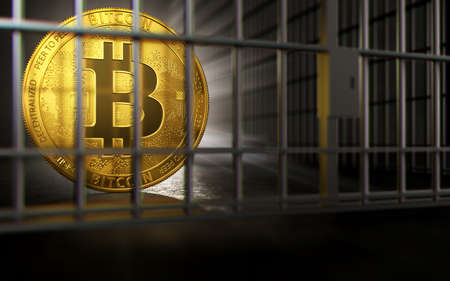 Bitcoin ban, imprison or illegal. Big troubles of Bitcoin or other cryptocurrencies. Copyspace on the right. 3D rendering