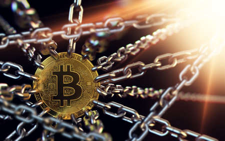Bitcoin blockchain concept. Bitcoin cryptocurrency connected with chains. 3D rendering