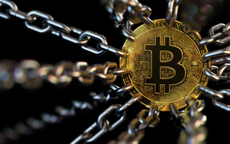 Bitcoin trapped with chains - cryptocurrencies in trouble concept. Bans, restrictions, taxes, illegal. 3D rendering Stock Photo