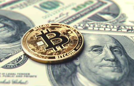 Close-up shot on Bitcoin coin laying on Dollar bills. Price of Bitcoin in United States concept. 3D rendering