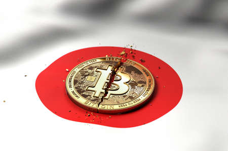 Cracked Bitcoin coin on Japanese flag. Bad Bitcoin condition in Japan concept. 3D Rendering Zdjęcie Seryjne