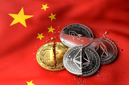 Stack of broken or cracked cryptocurrency coins on Chinese flag. Situation of Cryptocurrencies in China concept. 3D Rendering