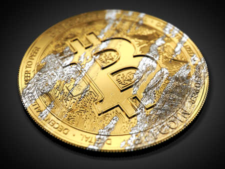 Damaged Bitcoin laying on dark background. Bitcoin crash concept. 3D rendering