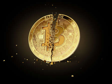 A broken or cracked Bitcoin on black background. Isolated on black. Bitcoin crash concept. 3D rendering
