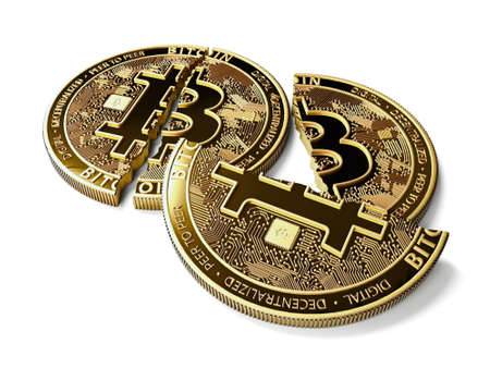 Stack of broken or cracked Bitcoin coins laying on white background. Bitcoin crash concept. 3D rendering