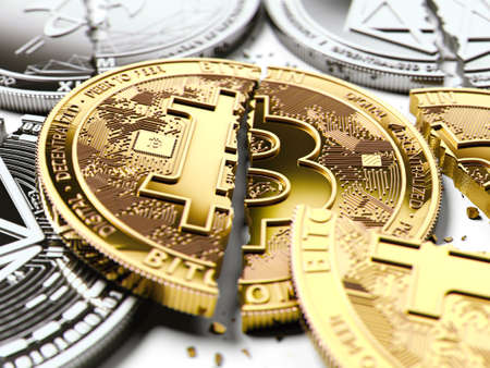 Stack of broken or cracked Bitcoin and altcoins coins laying on white background. Bitcoin crash concept. 3D rendering Stock Photo