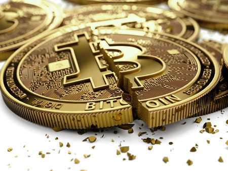 Close-up shot on broken or cracked Bitcoin coins laying on white background. Bitcoin crash concept. 3D rendering Banco de Imagens
