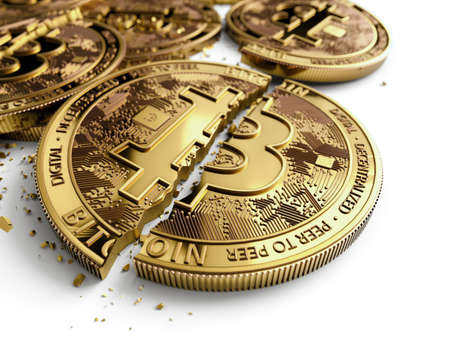 Close-up shot on broken or cracked Bitcoin coins laying on white background. Bitcoin crash concept. 3D rendering Stock Photo