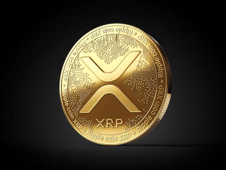 Golden Ripple XRP cryptocurrency coin isolated on black background. 3D rendering Imagens