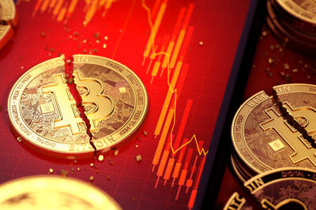 Close-up shot of Broken bitcoin split in two pieces laying on a smartphone screen with stock-market diagram in red color. 3D rendering Zdjęcie Seryjne