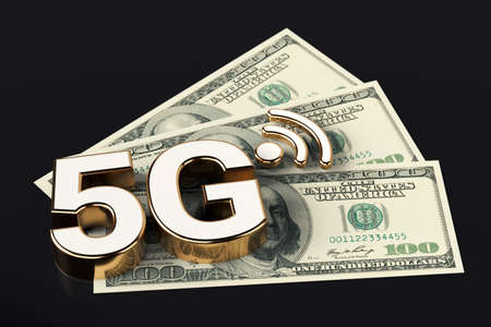 5G high speed communication network symbol standing on american dollar bills isolated on black background. 3D rendering