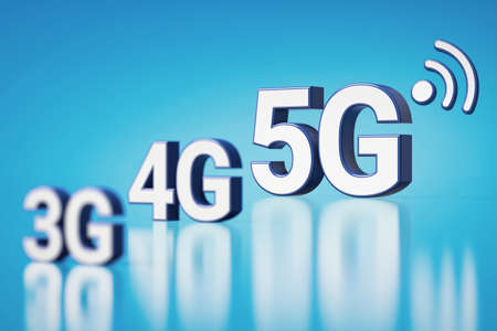 3G, 4G and 5G white letters in blurry closeup. 5G is the most recent and the fastest. Cyan background with copyspace available. 3D rendering