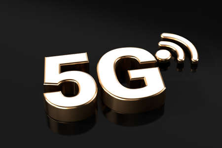 5G symbol laying on the dark background with copy space. 3D rendering Stock Photo