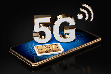 5G sign on smart phone screen with sim card next to it. Isolated on black background. High speed mobile web technology. 3D rendering