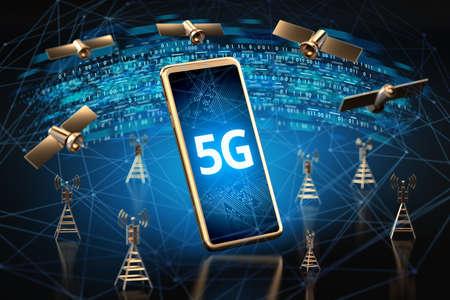 Smartphone mit 5G-Zeichen auf dem Bildschirm, umgeben von Hochgeschwindigkeits-Netzwerk-Datenübertragungsknoten. Verschwommene Nahaufnahme erschossen. 5G-Technologiekonzept. 3D-Rendering