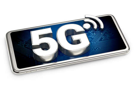 Smartphone with 5G sign on the screen isolated on white background. 3D rendering