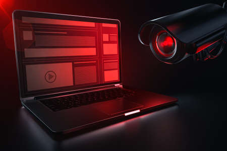 Red camera lense scanning computer for history logs and browsing data. European parliament directive to rectrict use of internet concept. 3D rendering 版權商用圖片