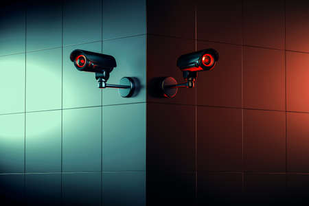 two white security CCTV cameras on the wall corner. The good and the bad side of surveillance concept. 3D rendering