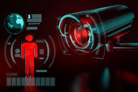 La gran cámara de vigilancia se centra en un icono humano como metáfora de la recopilación de datos sobre la sociedad mediante sistemas de vigilancia. Representación 3D