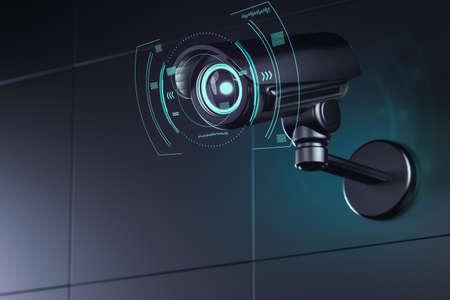 Caméra de surveillance au mur avec une interface futuriste autour de son objectif pendant qu'elle analyse l'environnement. rendu 3D