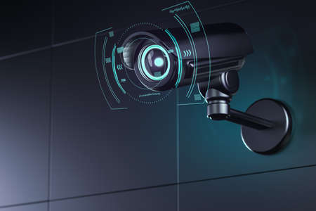 Surveillance camera on wall with futuristic interface around its lens as it analyzes surroundings. 3D rendering