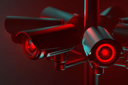 Close up on cctv lens as a metaphor of society controlled with surveillance system. 3D rendering