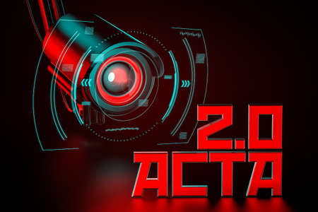 Hostile CCTV is keeping eye on ACTA 2.0 sign. United Europe Parlament regulation that can change internet we know concept. 3D rendering Imagens