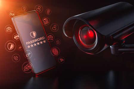 Cctv watches a password protected smartphone. Surveillance Self-Defense concept. 3D rendering Zdjęcie Seryjne