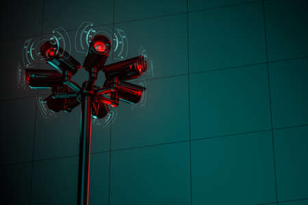 Seven cctv security cameras on the street pylon with a copy space on the right. 3D rendering Imagens