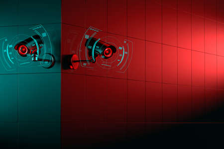 Two CCTV cameras on corner. One side of building is green the other side is red. 3D rendering Zdjęcie Seryjne
