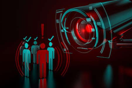 La telecamera gigante controlla un gruppo di persone come metafora del sistema di sorveglianza guidato dall'intelligenza artificiale (intelligenza artificiale) che prende il controllo del mondo che conosciamo. Rendering 3D Archivio Fotografico