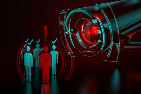 Una cámara gigante verifica a un grupo de personas como una metáfora del sistema de vigilancia impulsado por IA (inteligencia artificial) que toma el control del mundo que conocemos. Representación 3D Foto de archivo