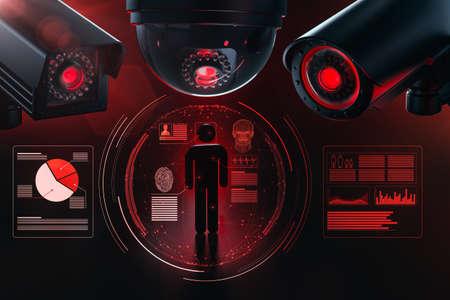 Tres grandes cctv recopilan y verifican datos personales como una metáfora del software de vigilancia impulsado por inteligencia artificial y cómo da forma al futuro. Obedece y procrea el concepto. Representación 3D