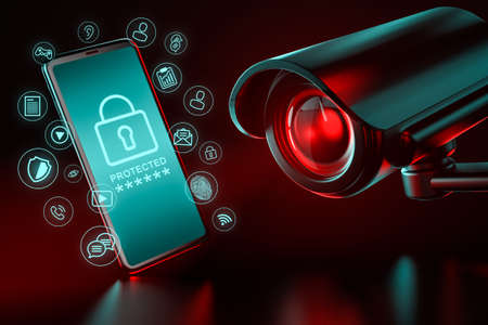 Big CCTV focusing on a smartphone and icons hovering around it as a metaphor of data leakage and ways to protect it. 3D rendering Zdjęcie Seryjne