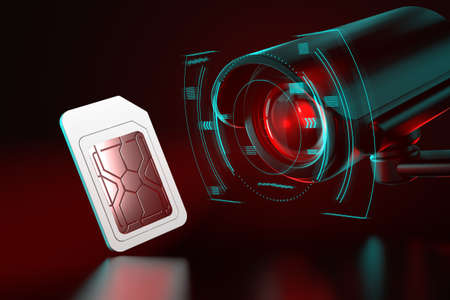 Sim card under observation. Spying on mobile data transfers or phone calls concept. 3D rendering