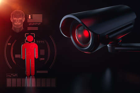 Cctv is checking information about citizen in surveillance security system concept. Big brother is watching you concept. 3D rendering Imagens