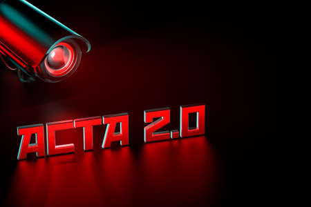 Hostile CCTV is keeping eye on ACTA 2.0 sign. United Europe Parlament regulation that can change internet we know concept. 3D rendering Zdjęcie Seryjne