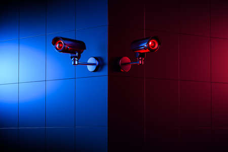 Two security CCTV cameras on the wall corner. The good and the bad side of surveillance concept. 3D rendering Imagens