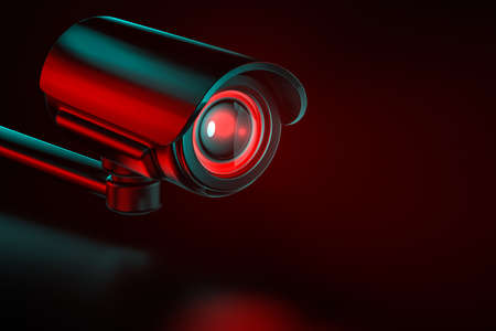 Security surveillance camera on an even background. 3D rendering