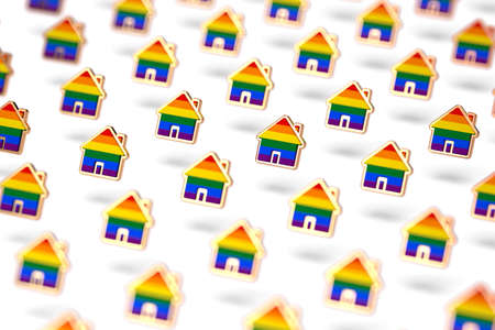 Blurry closeup shot on group of gay pride rainbow in a home shape isolated on white background. LGBTQ people rights to live together concept. 3D rendering Imagens